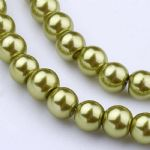 Glass Pearl Beads Yellow Green 6mm